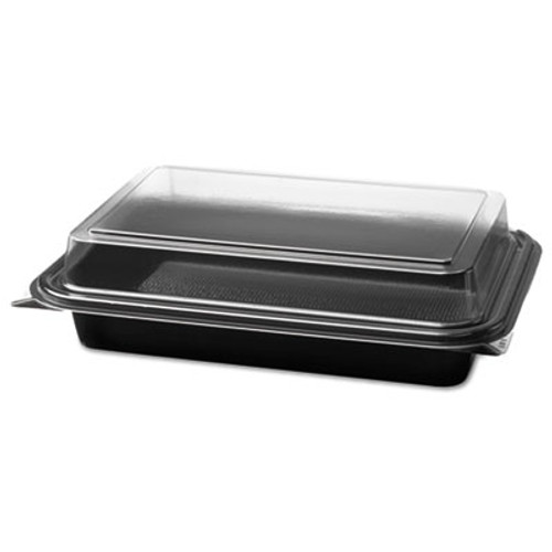 SOLO Cup Company Carryout Hinged Plastic Deli Boxes, 6.2 x 8.7 x 2.2, Black/Clear, 200/Carton (SCC844012PM94)