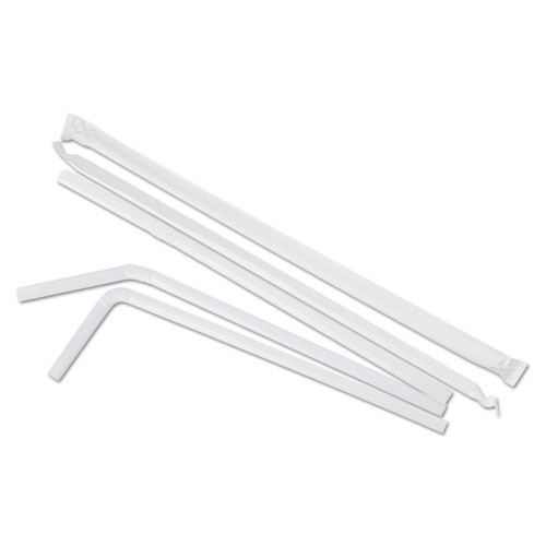 Boardwalk Flexible Wrapped Straws  7 3 4   White  500 Pack (BWKFSTW775W25PK)