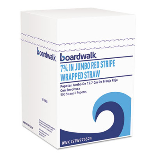 Boardwalk Wrapped Jumbo Straws  7 3 4   Plastic  Red w White Stripe  400 Pack (BWKJSTW775S24PK)