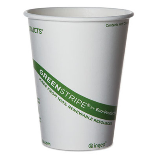 Eco-Products GreenStripe Renewable & Compostable Hot Cups - 12 oz., 50/PK, 20 PK/CT (ECOEPBHC12GS)