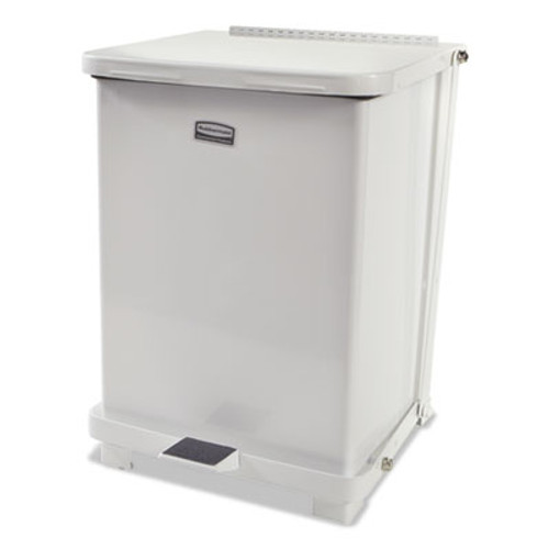 Rubbermaid Commercial Defenders Biohazard Step Can, Square, Steel, 7 gal, White (RCPST7EPLWHI)