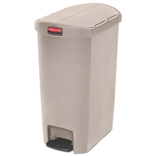 Rubbermaid Commercial Slim Jim Resin Step-On Container  End Step Style  13 gal  Beige (RCP1883459)