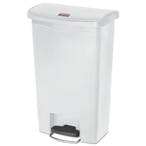 Rubbermaid Commercial Slim Jim Resin Step-On Container  Front Step Style  13 gal  White (RCP1883557)