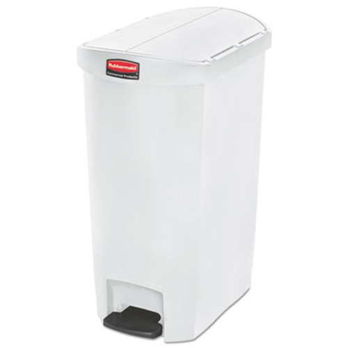 Rubbermaid Commercial Slim Jim Resin Step-On Container  End Step Style  13 gal  White (RCP1883558)