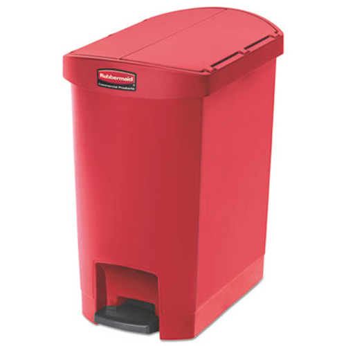Rubbermaid Commercial Slim Jim Resin Step-On Container, End Step Style, 8 gal, Red (RCP1883565)