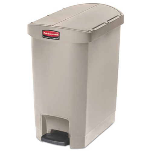 Rubbermaid Commercial Slim Jim Resin Step-On Container  End Step Style  8 gal  Beige (RCP1883457)