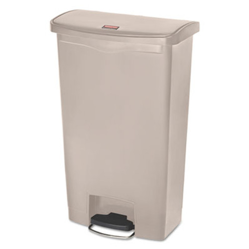 Rubbermaid Commercial Slim Jim Resin Step-On Container  Front Step Style  18 gal  Beige (RCP1883460)
