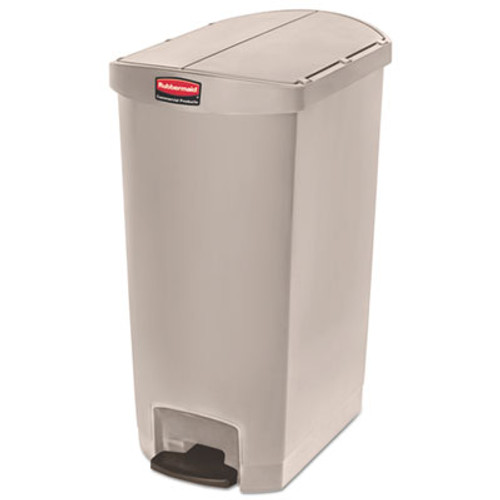Rubbermaid Commercial Slim Jim Resin Step-On Container, End Step Style, 18 gal, Beige (RCP1883551)