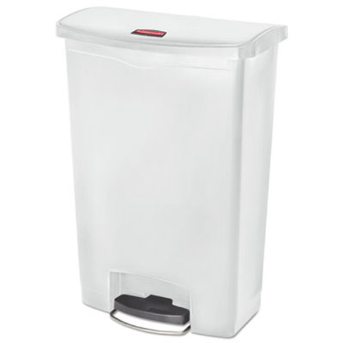 Rubbermaid Commercial Slim Jim Resin Step-On Container  Front Step Style  24 gal  White (RCP1883561)