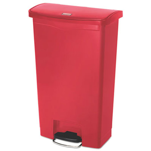 Rubbermaid Commercial Slim Jim Resin Step-On Container  Front Step Style  18 gal  Red (RCP1883568)