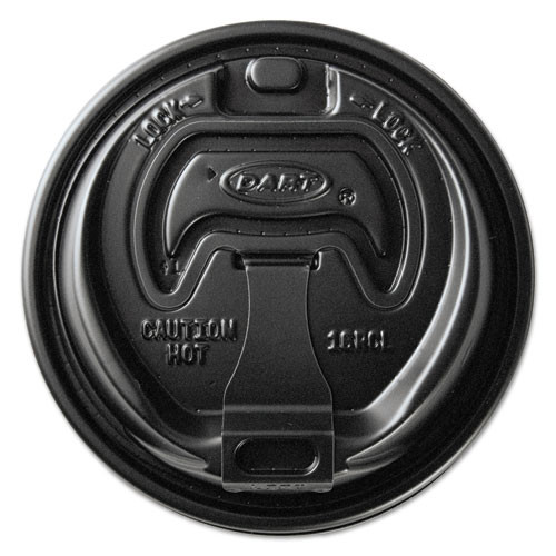 Dart Optima Reclosable Lids for Paper Hot Cups for 10-24 oz Cups  Black  1000 Carton (SCCOPT316B)