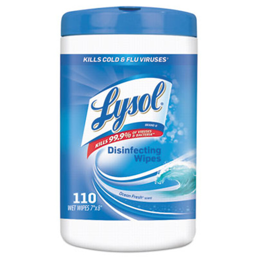 LYSOL Brand Disinfecting Wipes, Ocean Fresh Scent, 7 x 8, White, 110/Canister, 6/Pack (RAC93010CT)