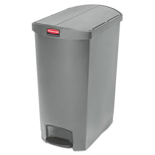 Rubbermaid Commercial Slim Jim Resin Step-On Container, End Step Style, 24 gal, Gray (RCP1883607)