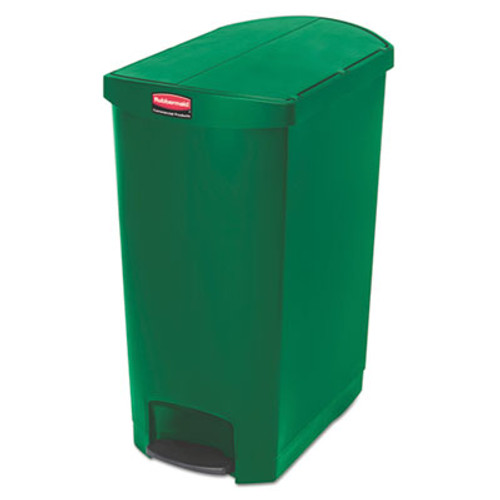 Rubbermaid Commercial Slim Jim Resin Step-On Container  End Step Style  24 gal  Green (RCP1883589)