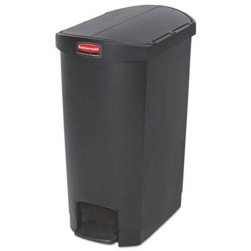 Rubbermaid Commercial Slim Jim Resin Step-On Container  End Step Style  13 gal  Black (RCP1883612)