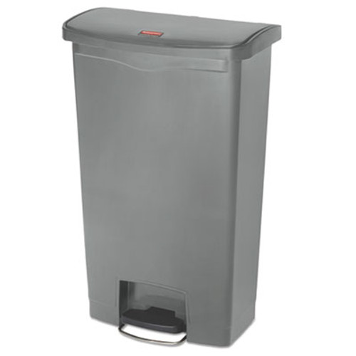 Rubbermaid Commercial Slim Jim Resin Step-On Container  Front Step Style  18 gal  Gray (RCP1883604)