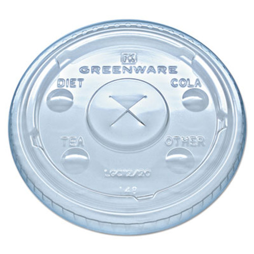 Fabri-Kal Greenware Cold Drink Lids  Fits 9  12  20 oz Cups  Clear  1000 Carton (FABLGC1220)