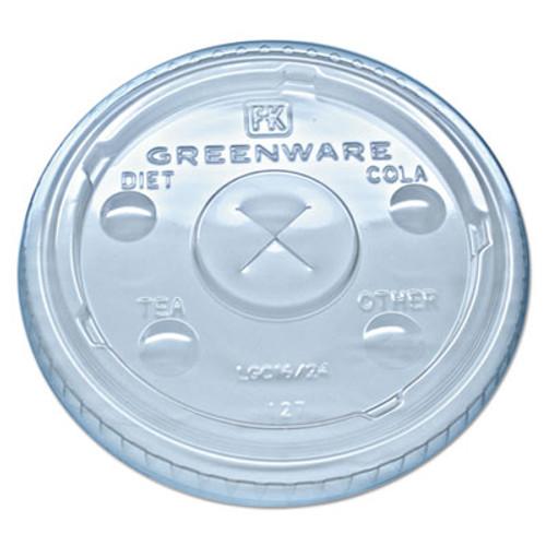 Fabri-Kal Greenware Cold Drink Lids  Fits 16-18  24 oz Cups  X-Slot  Clear  1000 Carton (FABLGC1624)