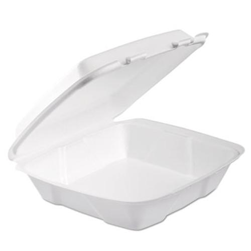 Dart Foam Hinged Lid Container  1-Comp  9 x 9 2 5 x 3  White  100 Bag  2 Bag Carton (DCC90HTPF1R)