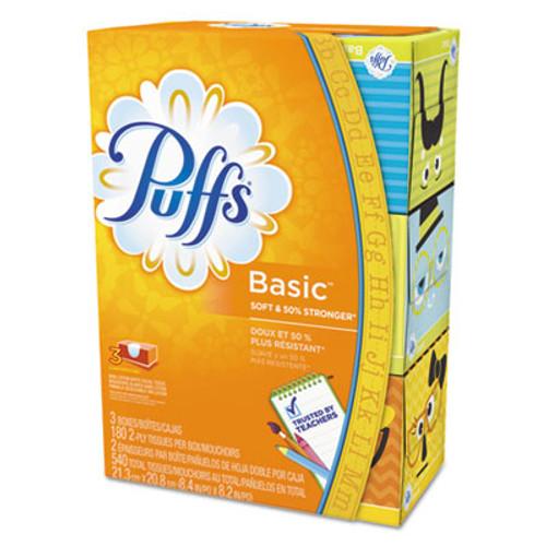 Puffs White Facial Tissue  2-Ply  White  180 Sheets Box  3 Boxes Pack (PGC87615PK)
