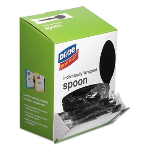 Dixie Grab        N Go Wrapped Cutlery  Teaspoons  Black  90 Box (DXETM5W540PK)