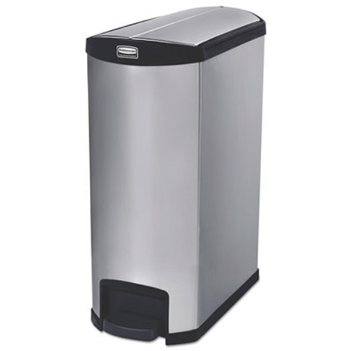 Rubbermaid Commercial Slim Jim Stainless Steel Step-On Container  End Step Style  24 gal  Black (RCP1902000)
