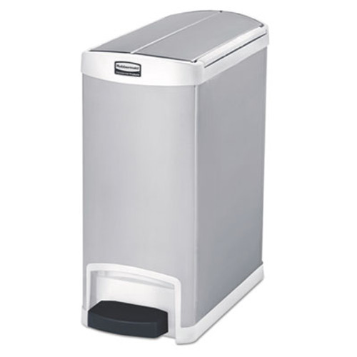 Rubbermaid Commercial Slim Jim Stainless Steel Step-On Container, End Step Style, 8 gal, White (RCP1901991)