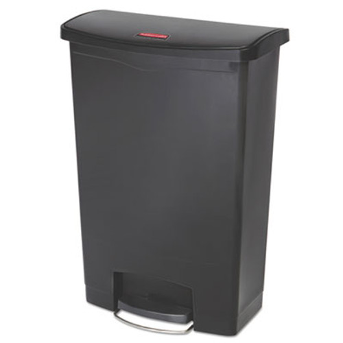 Rubbermaid Commercial Slim Jim Resin Step-On Container  Front Step Style  24 gal  Black (RCP1883615)
