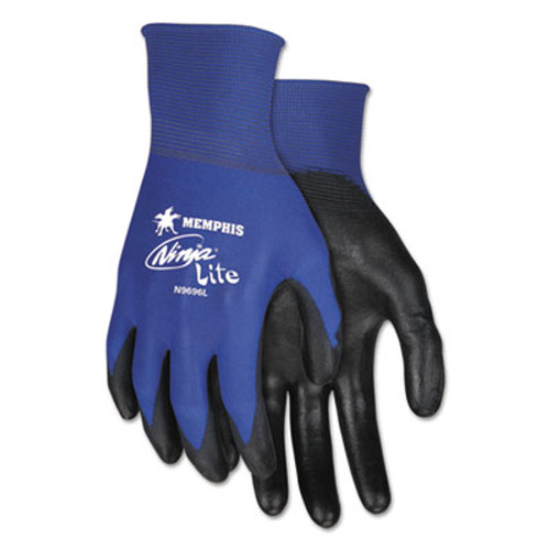 Memphis Ultra Tech Tactile Dexterity Work Gloves, Blue/Black, Large, 1 Dozen (CRWN9696L)