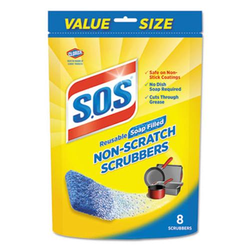 S.O.S. Non-Scratch Soap Scrubbers, Blue, 8/Pack (CLO10005PK)
