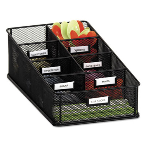 Safco Onyx Breakroom Organizers  7 Compartments  16 x8 1 2x5 1 4  Steel Mesh  Black (SAF3291BL)
