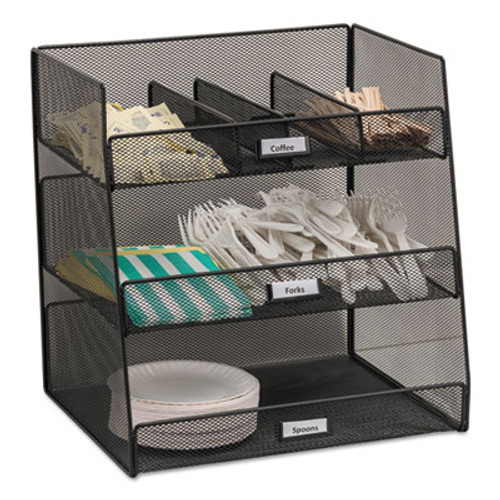 Safco Onyx Breakroom Organizers  3 Compartments 14 625x11 75x15  Steel Mesh  Black (SAF3293BL)
