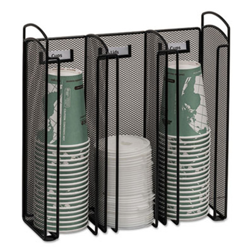 Safco Onyx Breakroom Organizers  3Compartments  12 75x4 5x13 25  Steel Mesh  Black (SAF3292BL)