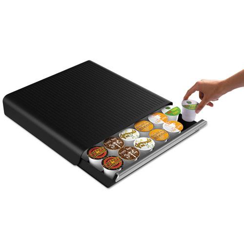 Mind Reader Coffee Pod Drawer  Fits 26 Pods  14 3 4 x 13 1 4 x 2 3 4  Black (EMSTRY26PCBLK)