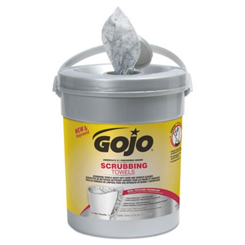 GOJO Scrubbing Towels  Hand Cleaning  Silver Yellow  10 1 2 x 12  72 Bucket (GOJ639606EA)