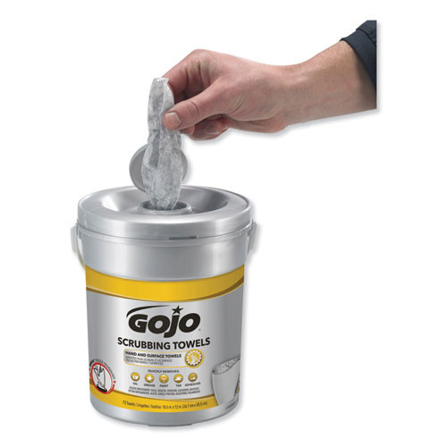 GOJO Scrubbing Towels  Hand Cleaning  Silver Yellow  10 1 2 x 12  72 Bucket (GOJ639606EA)