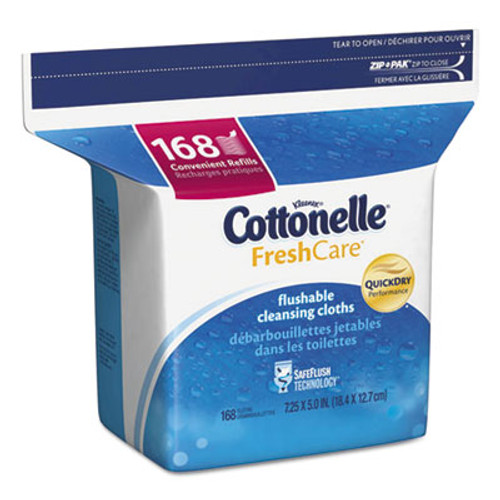 Cottonelle Fresh Care Flushable Cleansing Cloths  White  5 x 7 1 4  168 Pack (KCC10358EA)