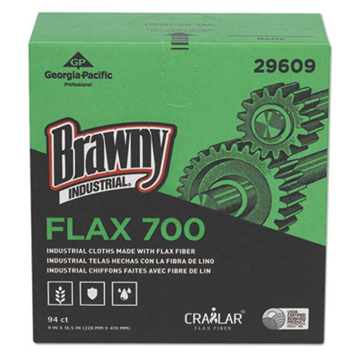 Brawny Industrial FLAX 700 Medium Duty Cloths  9 x 16 1 2  White  94 Box  10 Box Carton (GPC29609)