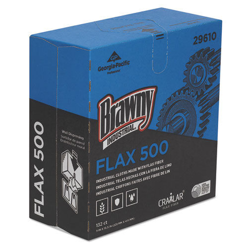 Brawny Industrial FLAX 500 Light Duty Cloths  9 x 16 1 2  White  132 Box  10 Box Carton (GPC29610)