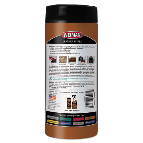 WEIMAN Leather Wipes  7 x 8  30 Canister  4 Canisters Carton (WMN91CT)