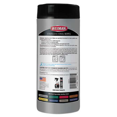 WEIMAN Stainless Steel Wipes  7 x 8  30 Canister  4 Canisters Carton (WMN92CT)