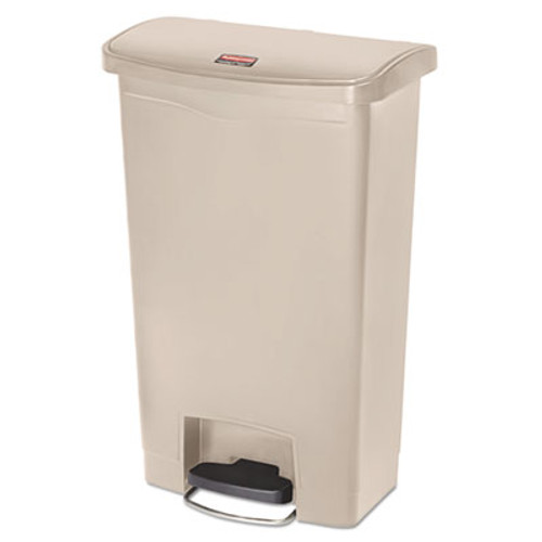 Rubbermaid Commercial Slim Jim Resin Step-On Container, Front Step Style, 13 gal, Beige (RCP1883458)