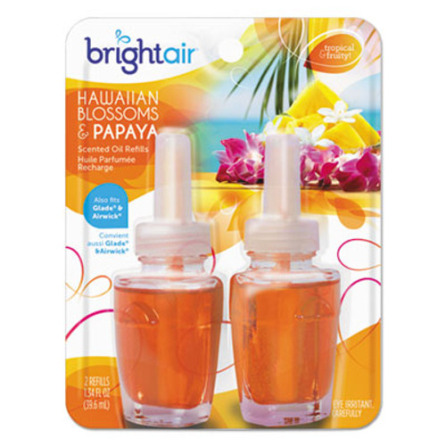 BRIGHT Air Electric Scented Oil Air Freshener Refill, Hawaiian Blossoms and Papaya, 2/Pack (BRI900256EA)