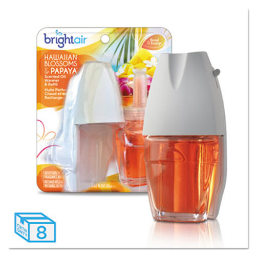 BRIGHT Air Electric Scented Oil Air Freshener Warmer and Refill Combo  Hawaiian Blossoms Papaya  8 Carton (BRI900254)