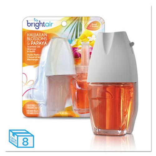 BRIGHT Air Electric Scented Oil Air Freshener Warmer and Refill Combo  Hawaiian Blossoms Papaya  8 Carton (BRI900254)