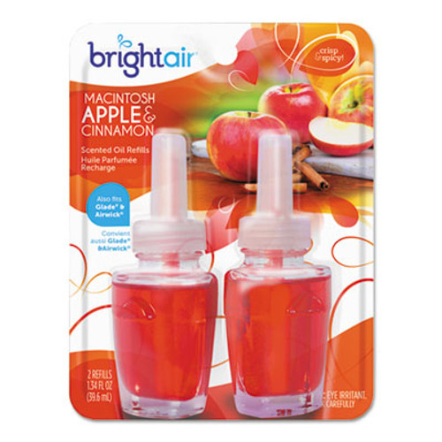 BRIGHT Air Electric Scented Oil Air Freshener Refill, Macintosh Apple and Cinnamon, 2/Pack (BRI900255EA)