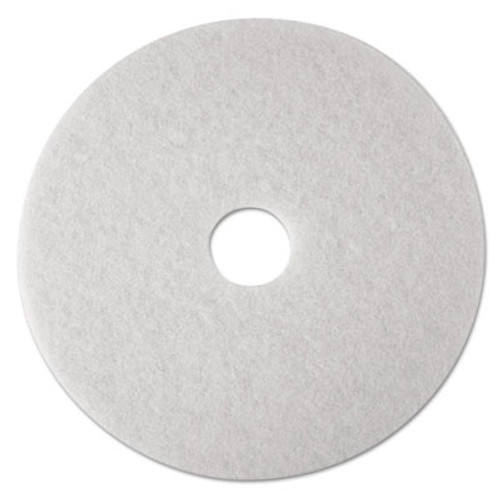 3M Low-Speed Super Polishing Floor Pads 4100, 15-Inch, White, 5/Carton (MMM08479)
