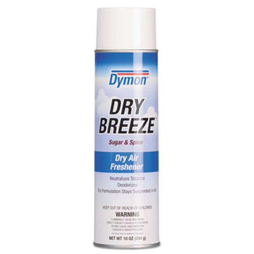Dymon Dry Breeze Aerosol Air Freshener  Sugar   Spice  10 oz  12 Carton (ITW70220)