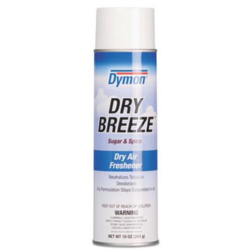 Dymon Dry Breeze Aerosol Air Freshener  Sugar   Spice  10 oz  12 Carton (ITW70220)