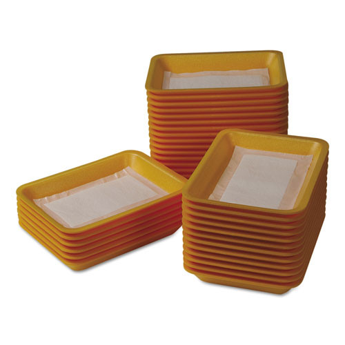International Tray Pads Meat Tray Pads  6w x 4 1 2d  White Yellow  1000 Carton (ITRTA1341108)